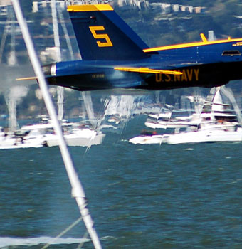 Close-up of a Blue Angel making a sneak pass through the San Francisco Bay at only 20 feet above the water