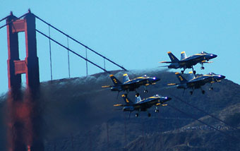 The Blue Angels cruise through the Golden Gate bridge to wow the Bay crowds